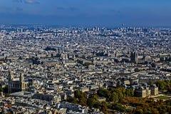 Панорама и вид с воздуха Парижа, от башни Montparnasse Стоковая Фотография