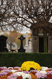 Montparnasse Cemetery Paris. Flowers in foreground with gravestones in the background royalty free stock photography