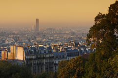 Montparnasse tower and roofs of Paris Stock Image