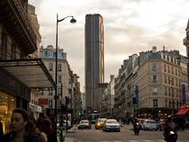 Montparnasse tower. And street in Paris, France Royalty Free Stock Photo