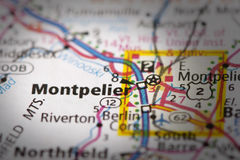 Montpelier, Βερμόντ στο χάρτη Στοκ Εικόνες