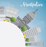 Montpelier (Vermont) city skyline with grey buildings and copy s Royalty Free Stock Photography