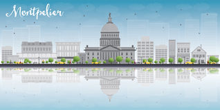 Montpelier (Vermont) city skyline with grey buildings and reflec Royalty Free Stock Images