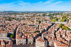 Montpellier aerial panoramic view, France. Montpellier aerial panoramic view. Montpellier is the capital city of the Herault department in southern France royalty free stock photos