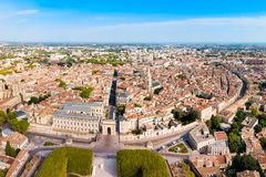 Montpellier aerial panoramic view, France. Montpellier aerial panoramic view. Montpellier is the capital city of the Herault department in southern France stock photo