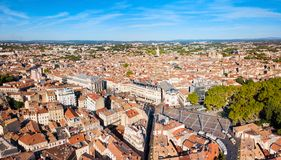 Montpellier aerial panoramic view, France. Montpellier aerial panoramic view. Montpellier is the capital city of the Herault department in southern France stock images