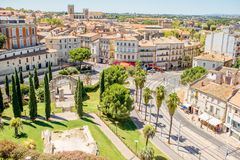 Montpellier city in France. Aerial cityscape view on the old town of Montpellier city during the sunny weather in Occitanie region of France royalty free stock images