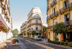 Montpellier city in France. Street view with beautiful old luxurois buildings on the Foch boulevard during the morning light in Montpellier city in Occitanie stock photo