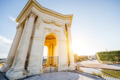 Montpellier city in France. View from below on the water tower in Peyrou garden during the morning light in Montpellier city in southern France royalty free stock images