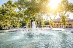 Montpellier city in France. View on the Esplanade Charles de Gaulle park with fountain in Montpellier city in southern France royalty free stock photos