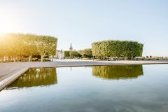 Montpellier city in France. View on the Peyrou gardens with fountain during the morning light in Montpellier city in southern France stock image