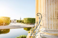 Montpellier city in France. View on the Peyrou gardens with water tower during the morning light in Montpellier city in southern France stock photo