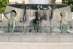 Montpellier. France. Antigone district, fountain of Ephebes by J.M. Bourry stock photo