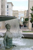 Montpellier. France. Antigone district, place de Thessalie, fountain of Ephebes royalty free stock photo