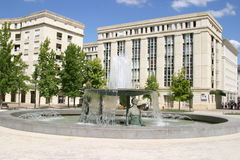 Montpellier. France. Antigone district, place Thessalie, fountain of Ephebes by J.M. Bourry stock photos
