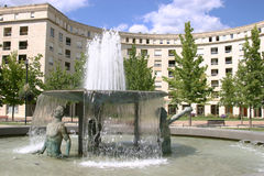 Montpellier. France. Antigone district, place Thessalie. Fountain of Ephebes by J.M. Bourry royalty free stock photos