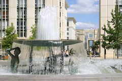 Montpellier. France. Antigone district, place Thessalie. Fountain of Ephebes by J.M. Bourry stock photo