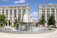 Montpellier. France. Antigone district, place Thessalie, fountain of Ephebes by J.M. Bourry stock photo