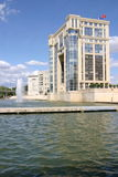Montpellier. France. Headquarter of the Region government on the river Lez stock photo