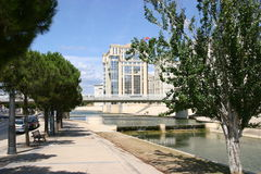 Montpellier. France. Headquarter of the Region government on the river Lez stock photography