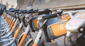 Velomagg bike sharing city bikes for rental in Montpellier. Montpellier, France - January 2, 2019: Velomagg bike sharing city bikes for rental in Montpellier stock photography