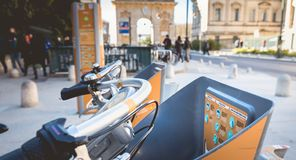 Velomagg bike sharing city bikes for rental in Montpellier. Montpellier, France - January 2, 2019: Velomagg bike sharing city bikes for rental in Montpellier stock images