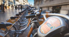 Velomagg bike sharing city bikes for rental in Montpellier. Montpellier, France - January 2, 2019: Velomagg bike sharing city bikes for rental in Montpellier royalty free stock photography