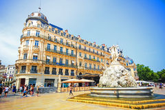 Montpellier, France. JULY 2: Architecture and fountain of Place de la Comedie,  on July 2, 2015 in Montpellier stock photography