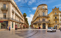 Montpellier. MONTPELLIER, FRANCE - JULY 13: The streets of the old city on july 13, 2014 in Montpellier royalty free stock image