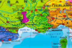 Montpellier France map. Montpellier in France pinned on colorful political map of Europe. Geopolitical school atlas. Tilt shift effect Royalty Free Stock Image