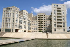 Montpellier. France. Modern buildings on the river Lez royalty free stock images