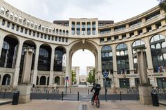 Montpellier, France. The Montpellier Mediterranee Metropole, one of the buildings of the Quartier Antigone, in the Place du Millenaire royalty free stock photos
