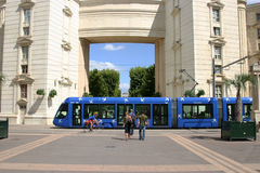Montpellier. France. Tramway line 1 in Antigone district stock image