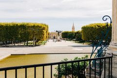 Montpellier, Frankrijk - mening van Peyrou stock afbeeldingen