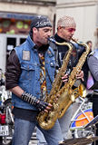 MONTPELLIER - MAY 2010: Street brass rock band Stock Photos