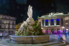 Montpellier at night. Centre of Montpellier, France in the evening (2011 royalty free stock photography