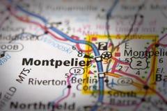 Montpellier, Vermont sur la carte Images stock
