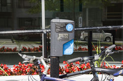 Montréal, Québec, Canada - 18 juillet 2016 - extérieur i de signe de stationnement Images libres de droits