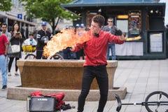 MONTRÉAL, QUÉBEC, CANADA - 20 MAI 2018 : interprètes Montréal de rue à Montréal image libre de droits