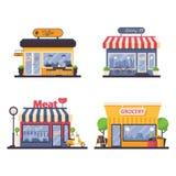 Montra detalhada para a loja do mantimento e de carne, padaria, café do café Vector a ilustração da fachada para o negócio e a ve ilustração royalty free