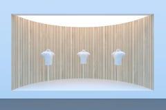 Montra ou pódio vazio do círculo com iluminação e uma janela grande Imagens de Stock