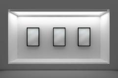 Montra ou pódio vazio com iluminação e uma janela grande Imagens de Stock Royalty Free