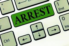 Montrare concettuale della foto di affari di arresto di rappresentazione di scrittura della mano afferra qualcuno dall'autorità l fotografia stock libera da diritti