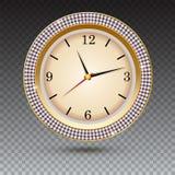 Montre avec des diamants sur le fond transparent Icône de l'horloge d'or de luxe, décoration de bijoux avec le cadran blanc et Image stock