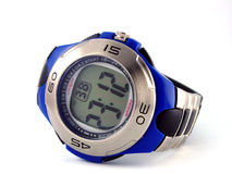 Montre-bracelet digitale bleue Image libre de droits