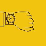 Montre-bracelet en main, minimal illustration libre de droits