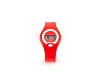Montre-bracelet numérique rouge d'affichage à cristaux liquides de mode Photo stock