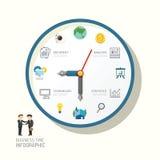 Montre d'Infographic et idée plate d'icônes Illustration de vecteur mangez illustration stock