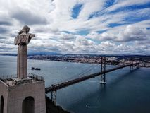 Montre de Cristo Rei sur Lisbonne photographie stock