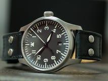 Montre de flieger de Stowa avec le bracelet en cuir Images libres de droits